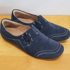 Naturalizer Blue Leather Suede Slipon Loafers